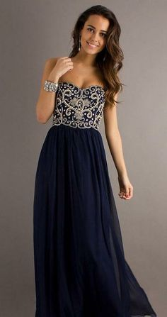 Nightblue strapless evening dress with glittery top