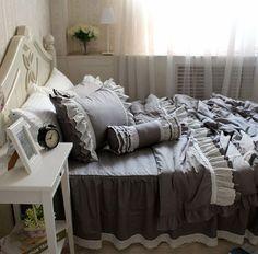 DIAIDI Home Textile,Luxury Grey Ruffle Bedding Set,Gray Lace Ruffle Bedding,4/5pcs DIAIDI http://www.amazon.com/dp/B00GN4STGO/ref=cm_sw_r_pi_dp_DeSWvb0TXWQFJ