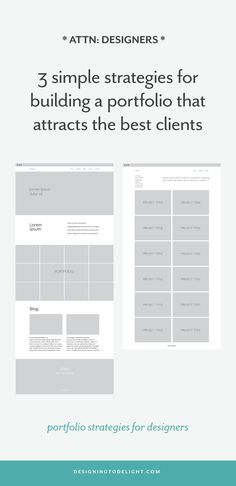 Designers, struggling to keep your portfolio updated? Reframe how you view the time spent working on your portfolio. Think about the time spent showcasing your work as an investment. Here's 3 strategies for building a portfolio that attracts the best clients and higher paying projects. Click through to see tips for gathering assets and portfolio layout ideas…