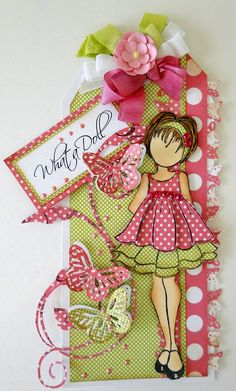 What a doll/Julie Nutting stamped tag