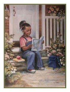 african american art   Black Art Print depicting a little African American girl sitting on ...