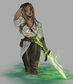 f Rogue Thief Leather Armor Longsword female urban City undercity swamp med Fantasy Character Design, Character Creation, Character Drawing, Character Design Inspiration, Female Character Concept, Girls Characters, Dnd Characters, Fantasy Characters, Female Characters