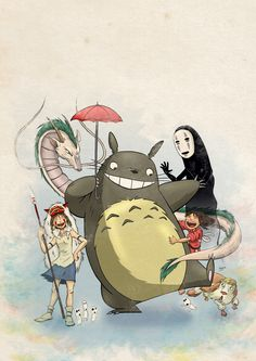 "La tribu ⭐Ghibli⭐ ~ ""CrossOver Image"" ~ Movie : Princesse Mononoké • Totoro • Le Voyage de Chihiro ~ [❤_Studio_Ghibli_❤]"
