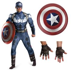 Complete Classic Captain America Winter Soldier Adult Muscle Chest Costume! Only at OfficialSuperheroCostumes.com