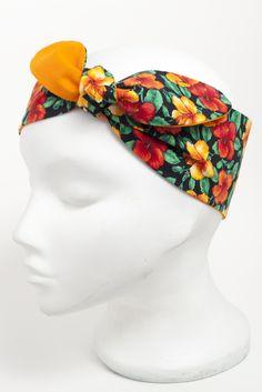 Orange yellow hibiscus flower head scarf. http://bad-kitty.co.uk/product/orange-yellow-hibiscus-flower-head-scarf/