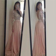 Langärmeliges Kleid Abendkleid Pink