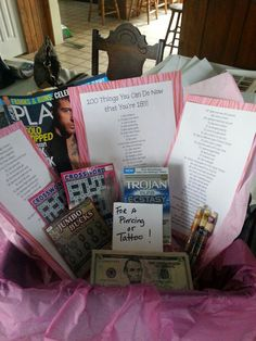 Best 18th birthday present Ok minus the condoms and playboy! Lol love the lottery tickets, $ for tattoo and the list!