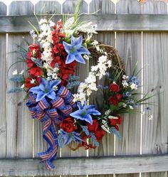 Patriotic 4th of July, Memorial Day Wreath, $105.00