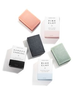 Clay Soap Trio in Pink Clay & Bamboo Charcoal $12ea.