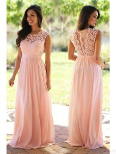 Round Lace Bodice   Long  Chiffon Prom Dresses Evening  Dresses  #SIMIBridal #promdresses
