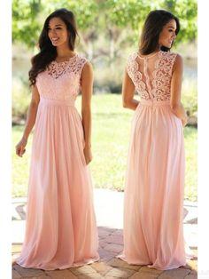Round Lace Bodice Long Chiffon Prom Dresses Evening Dresses #SIMIBridal #promdresses