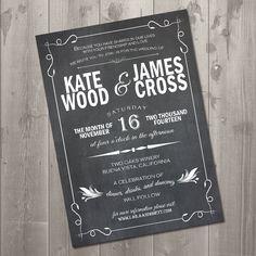 Vintage Chalkboard Wedding Invitation  DIY by SimplySmittenDesigns