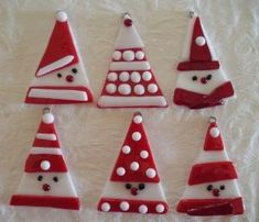 Fused glass Santa Christmas ornaments. by adele