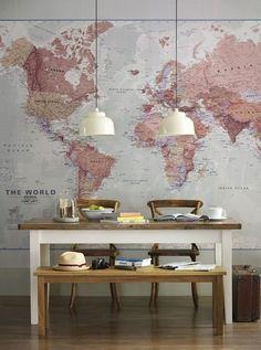 Dining Room | Pendant Lighting | Wall Canvas | DIY Art | World Map Decor | Home Design