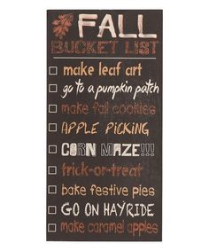 It's never too early to make a list! Hang or prop this chalkboard-style sign with permanent lettering and fill your home with harvest spirit. Glitter colors against a distressed black finish. Chalk (n
