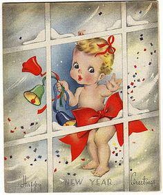 Vintage Happy New Year Card Illustration Happy New Year Baby, Vintage Happy New Year, Happy New Year 2014, Happy New Year Cards, Happy New Year Greetings, New Year Greeting Cards, Vintage Greeting Cards, Vintage Postcards, Vintage Year