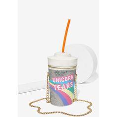 Skinnydip London Unicorn Tears Bag (63 CAD) ❤ liked on Polyvore featuring bags, handbags, shoulder bags, white handbags, imitation handbags, zipper purse, straw purses and chain shoulder bag