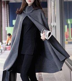 Noble Hooded Solid Color High Slit Loose Cloak For Women Coats   RoseGal.com Mobile