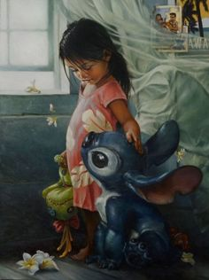 Disney artist Heather Theurer reimagines classic Disney tales into fine art portraits - lilo and stitch