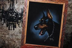 Velvet Doberman Pinscher Painting by VintageVanShop on Etsy, $35.00    Memorial Day Sale on all items today only. Receive 15% off your order when you use the coupon code: hppymmraldy at checkout.