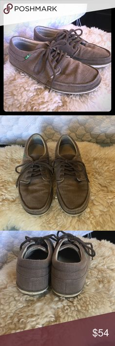 Sanuk, brown cotton shoes Sanuk, brown cotton shoes. These fit true to size. Hardly worn Sanuk Shoes Flats & Loafers