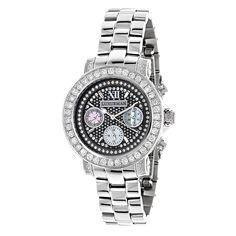 Luxurman Watches: Ladies Montana Diamond Watch 3ct Black