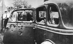 Bonnie and Clyde's car following the shootout that ended their lives (May 23, 1934).