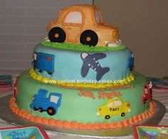Homemade Transportation Birthday Cake: I found my inspiration for this Transportation Birthday Cake on this website.  It was car #16, so thank you for the great idea!! I just added a variety
