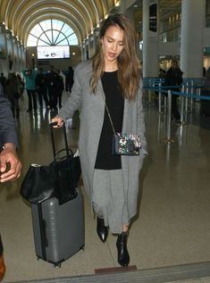 Jessica Alba Arriving On A Flight At LAX - Pictures