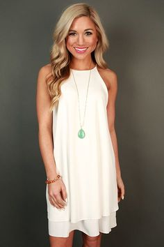 Brunch Date Shift Dress in White
