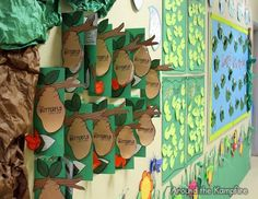 Ending the Year in a Life Cycle Garden~Great ideas that incorporate writing for butterfly, frog, and insect life cycle themed bulletin boards and hallway displays during open house. The post includes a free downloadable butterfly kids writing craft.