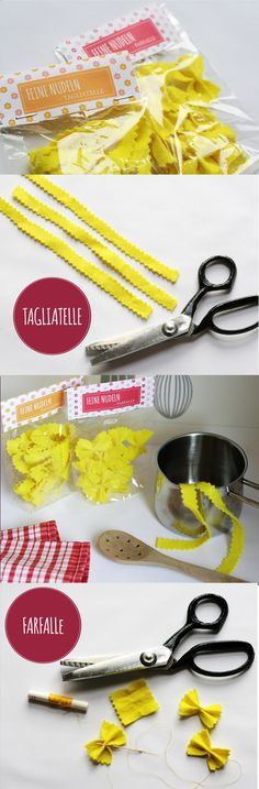 Making pasta - making pasta for the kitchen and the shop itself - Limmaland DIY: make pasta / pasta for children& kitchen and shop itself. Freebie for pasta bo - Sewing For Kids, Diy For Kids, Crafts For Kids, Childrens Kitchens, Felt Play Food, Pretend Food, Ideias Diy, Food Crafts, Diy Crafts