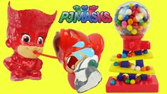 Learn Colors PJ Masks Doll Gumball Machine Bath Time Chocolate Candy and Colors Clay Slime Surprise Toys. Owlette spits slime from candy gumballs on romeo. This video is for preschool children and big kids  PJ Masks cartoon is based on Les Pyjamasques book with Catboy Gekko and Owlette and the NightVillains Luna Girl Romeo and Night Ninja. Connor is Catboy. Amaya is Owlette. Greg is Gekko.  Mais dès que la nuit tombe les trois jeunes amis enfilent leurs pyjamas activent leur amulettes…