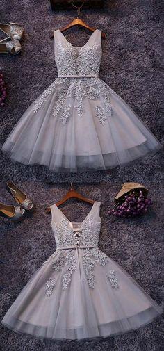 Lace appliqued homecoming dress,hoco dress,homecoming 2017, short bridesmaid dresses,404 - Thumbnail 1