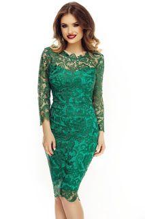 rochie_de_ocazie_pana_la_genunchi3 Formal Dresses, Fashion Trends, Clothes, Romania, Tops, Outfit, Ideas, Lace Dresses, Green