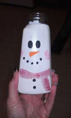 Bath & Body Works soap dispenser painted into a Snowman for decoration.