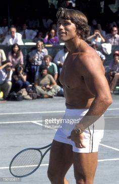 Arnold Schwarzenegger - 1977 RFK Pro-Celebrity Tennis Tournament