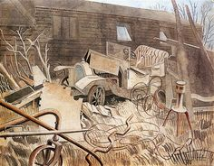 Talbot-Darracq by Eric Ravilious 1934 ( Agricultural machinery and vehicle repair yard, Bell Lane, Great Bardfield, Essex. Beautiful Paintings, Landscape Paintings, Landscapes, Art Techniques, Watercolor Art, Contemporary Art, Illustration Art, Fine Art, Abstract