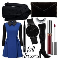 """Fall Dress"" by sofielee94 ❤ liked on Polyvore featuring Steve Madden, Lands' End, Anastasia Beverly Hills, WithChic, MAC Cosmetics, CLUSE and Danielle Nicole"