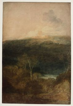 Joseph Mallord William Turner 'View of Fonthill Abbey', c.1799–1800 - Graphite and watercolour on paper -  Dimensions Support: 1055 x 711 mm -  Collection -  Tate