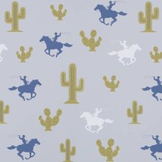"Cactus Cowboy Wallpaper  The motto for children's wallpaper company Hibou Home is ""Beautiful children's wallpaper for beautiful homes."" We couldn't agree more.  Cactus Cowboy Wallpaper, £70 per roll at Hibou Home"