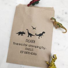 Dinosaur Birthday Favor Bags Personalized with name & age! 0.75 each SALTEDdesignstudio.com