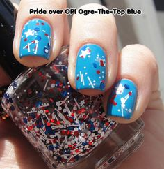 Nostalgic Nail Lacquer: Pride omg neeed this for the 2014 Olympics. GO USA HOCKEY! Winter Nails, Spring Nails, Summer Nails, 4th Of July Nails, Fourth Of July, Shellac Nails, Nail Polish, Hockey Nails, Usa Hockey