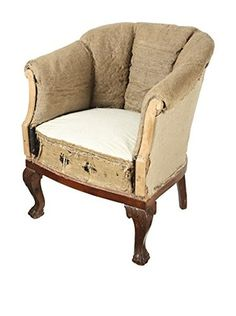 French Deconstructed Club Chair, Brown