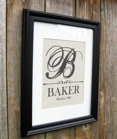 Personalized Family Sign With Monogram and  Established Date $17.50, via Etsy.