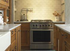 kohler mediterino - cream subway tile & marble counters Marble Counters, Kitchen Makeovers, Subway Tile, Den, Kitchen Ideas, Kitchens, Kitchen Cabinets, Design Ideas, Homes