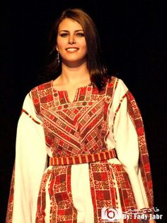Each region in Palestine had a distinct style of traditional dress, called a thob. (rhymes with robe, not knob!) This image is from an album here Embroidery On Clothes, Embroidery Dress, Arabic Dress, Palestinian Embroidery, Oriental Fashion, Folk Costume, Textiles, Traditional Dresses, Fashion Show