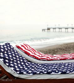 Newport Beach mat with red, white and blue stars and stripes