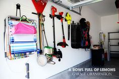 How to organize the garage | A Bowl Full of Lemons. Husky garage storage hooks unit from home depot