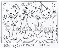 whimsy 365 day 317 082116 Embroidery Works, Embroidery Motifs, Embroidery Designs, Cat Template, Templates, Whimsical Halloween, Watercolor Bookmarks, Primitive Quilts, Halloween Embroidery
